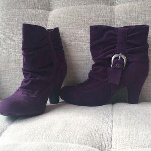 Qupid purple suede booties
